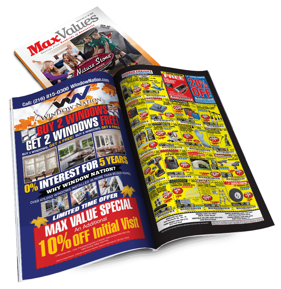 MaxValues direct mail magazine is distributed throughout Cleveland and Akron, Ohio - direct mail marketing consultants
